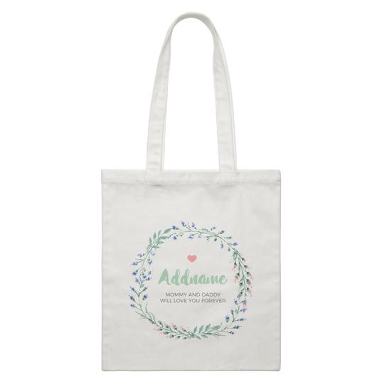 Blue Flower Leaf Wreath Canvas Bag