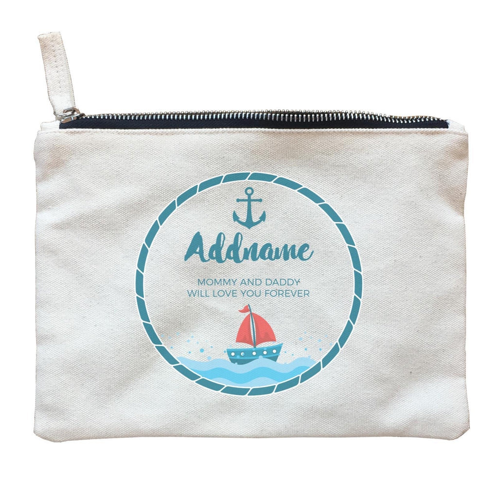 Sailor Emblem with Boat Zipper Pouch