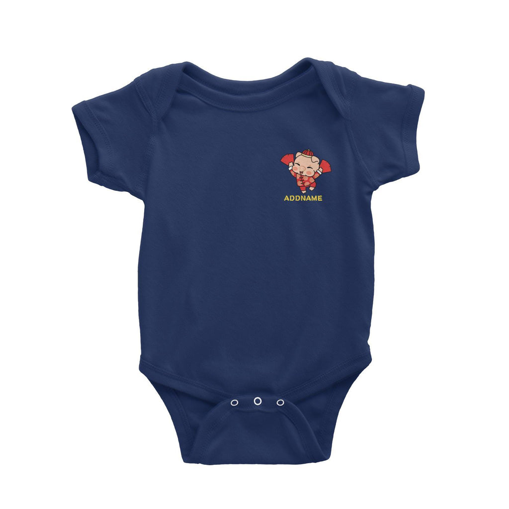 Prosperity Pig Boy with Red Packets Pocket Design Customizable Romper