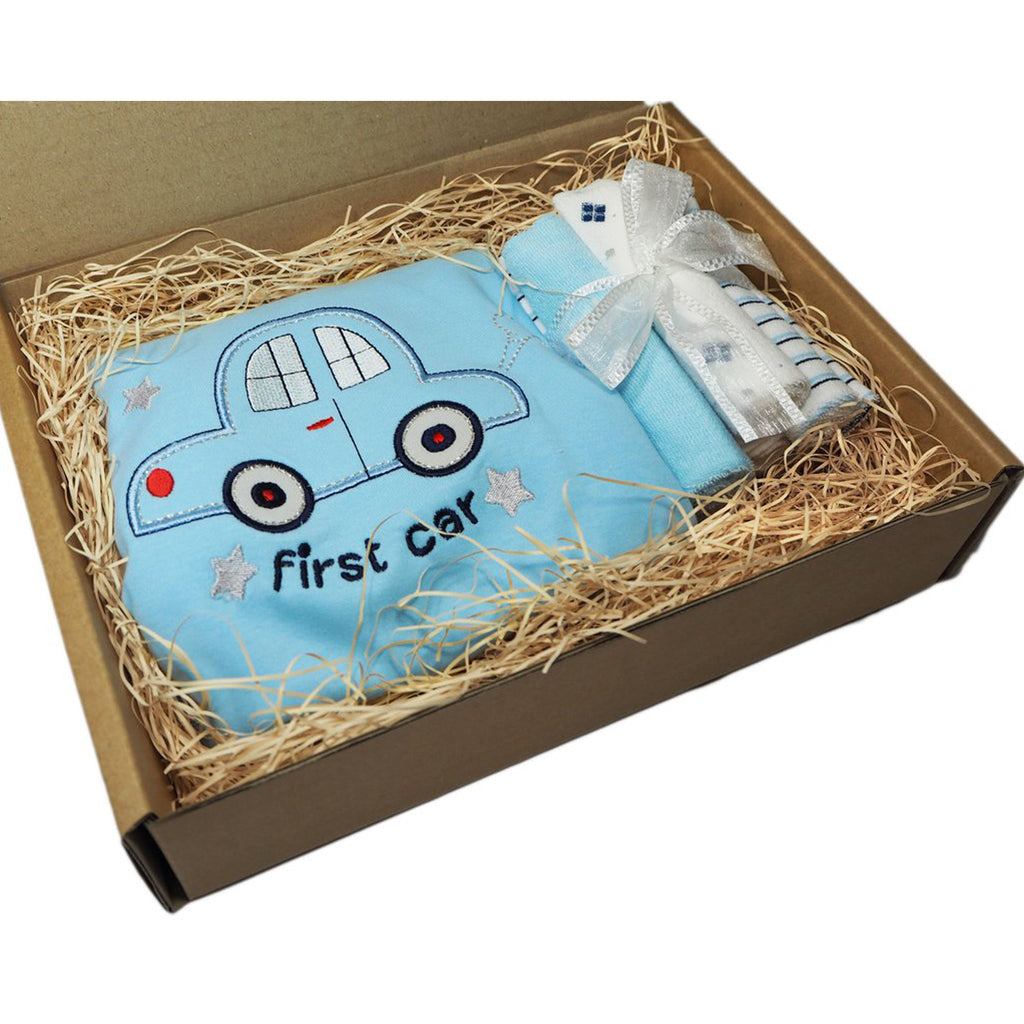 Little Miracle Gift Box- First Car Swaddle Set