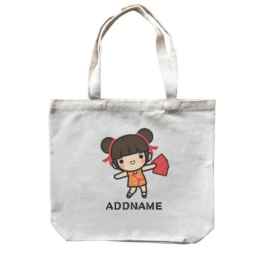 Prosperity CNY Girl with Red Packet Customizable Canvas Bag