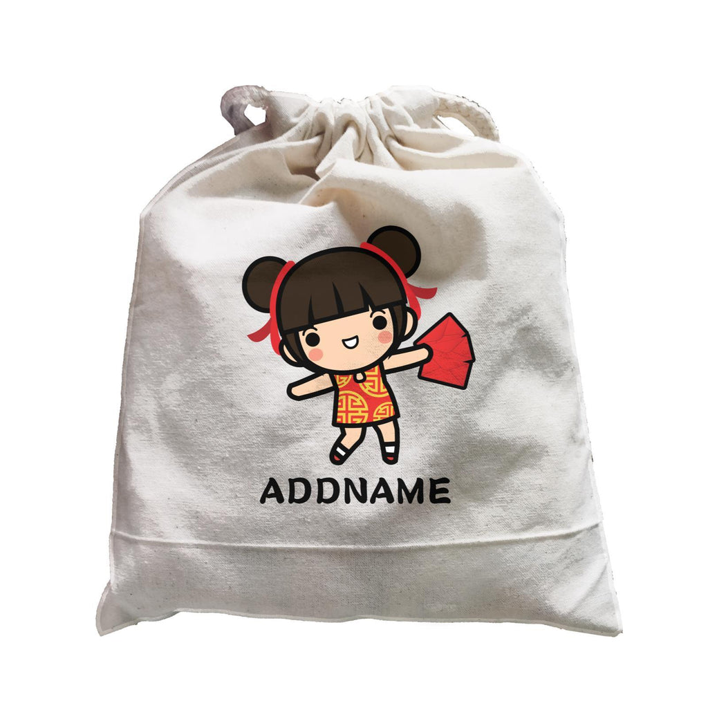 Prosperity CNY Girl with Red Packet Customizable Satchel Bag