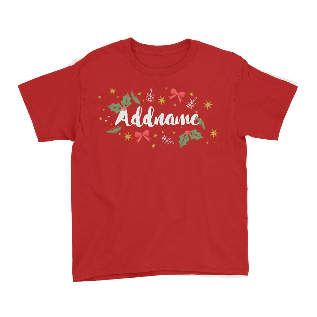 Christmas Hollyleaves Customizable Kids Tee