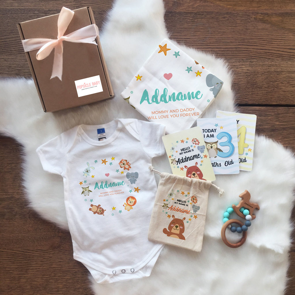 Animal Safari with Stars Newborn Set (+ Milestone Cards, Teether)