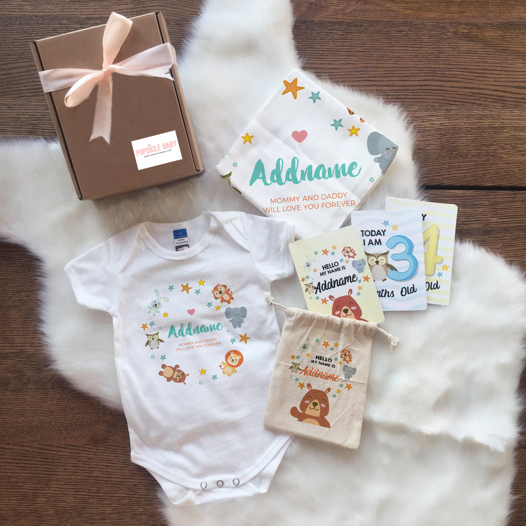 Animal Safari with Stars Newborn Set (+ Milestone Cards)