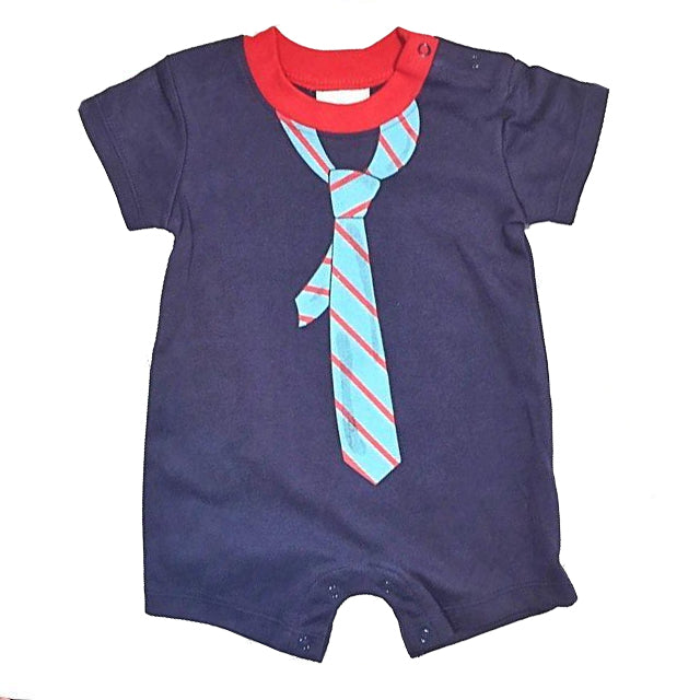 Navy Blue Baby Boy Tie Romper
