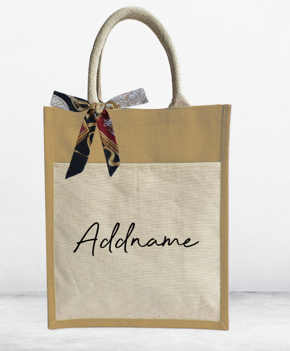 Customizable Jute Bag with Front Pocket