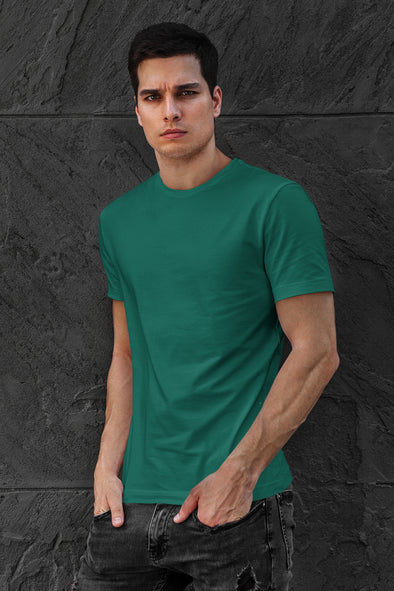 Pine Green - Premium quality plain Solid crew neck Tshirt for Men