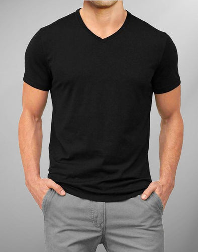 Plain Black | Men's V Neck T Shirt | Premium T-Shirt - TeeClap