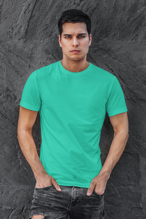 Turquoise green- Premium quality plain Solid crew neck Tshirt for Men