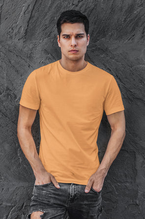 Peach- Premium quality plain Solid crew neck Tshirt for Men