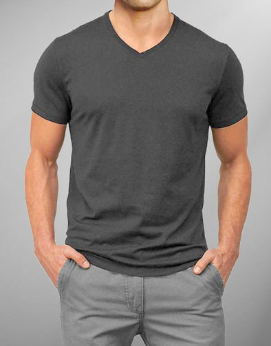 Plain Darkgrey | Men's V Neck T Shirt | Premium T-Shirt - TeeClap