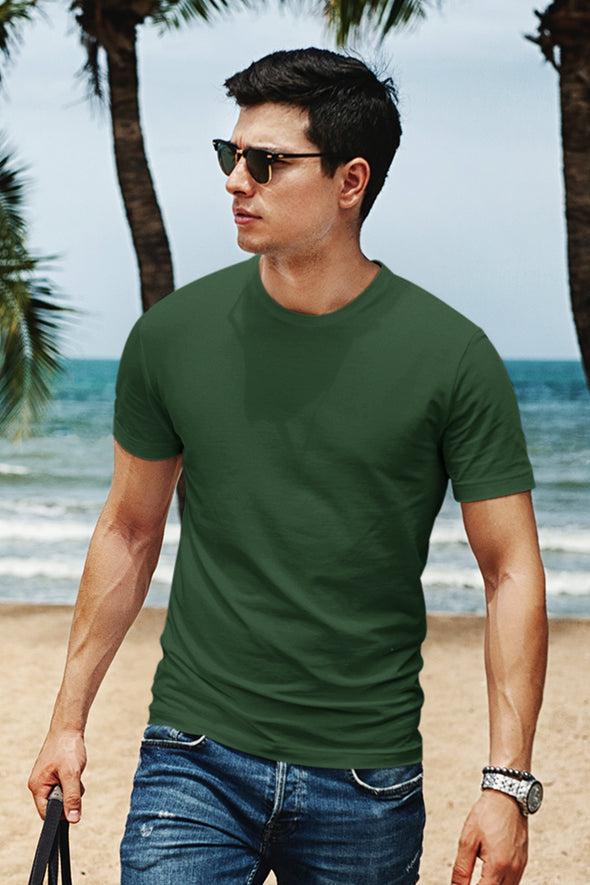 Bottle Green - Premium quality plain Solid crew neck Tshirt for Men