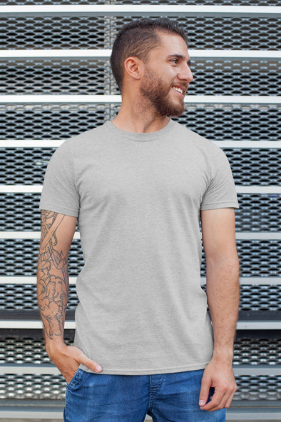 Light Grey - Premium quality plain Solid crew neck T-shirt for Men