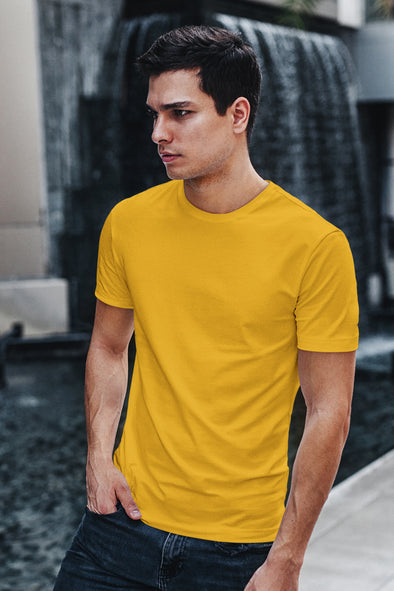 Mustard Yellow - Premium quality plain Solid crew neck T-shirt for Men
