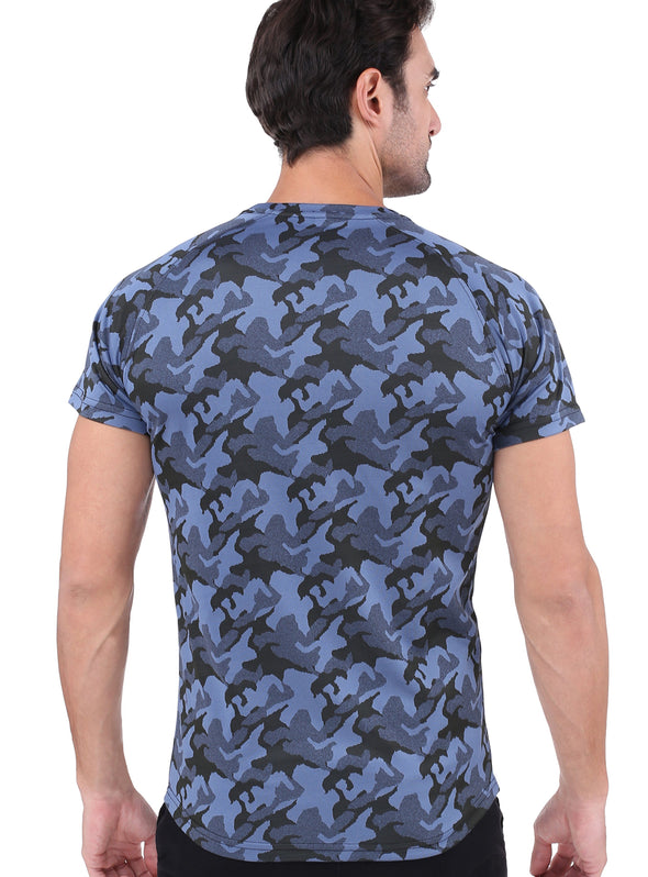 Marine Blue Military Camo T shirt | Men's Active Wear - TeeClap