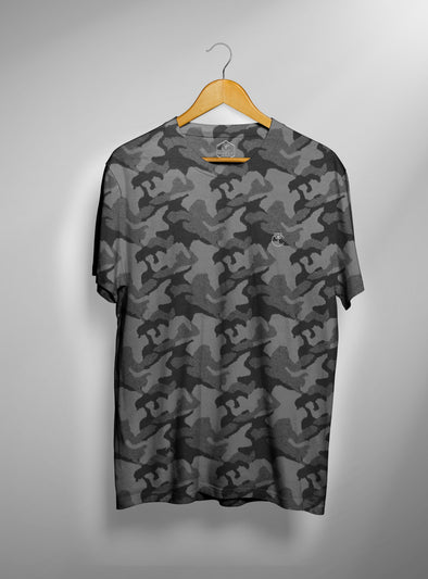 Grey Military Camo T shirt | Men's Active Wear