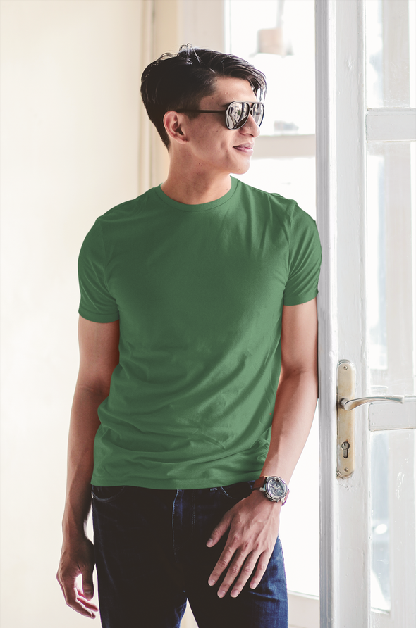Olive Green - Premium quality plain Solid crew neck T-shirt for Men