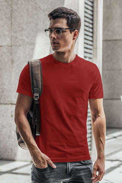 Red - Premium quality plain Solid crew neck Tshirt for Men