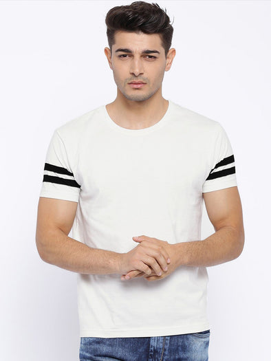 Men Stylist Cut And Sew White | Premium T Shirt - TeeClap