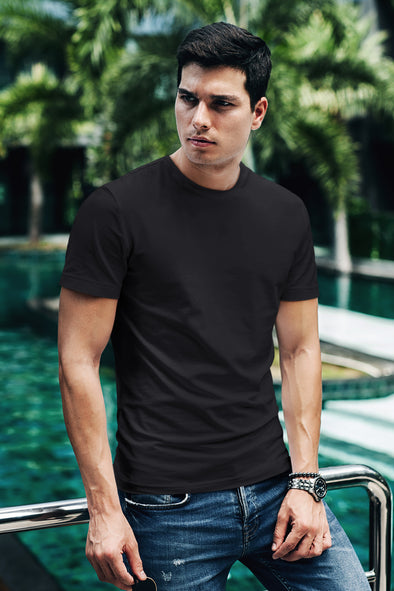 Black - Premium quality plain Solid crew neck T-shirt for Men