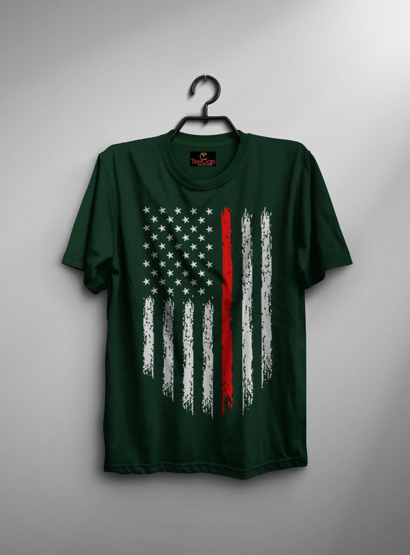 American Flag | Men's Round Neck | Graphic Printed Premium T-Shirt - TeeClap