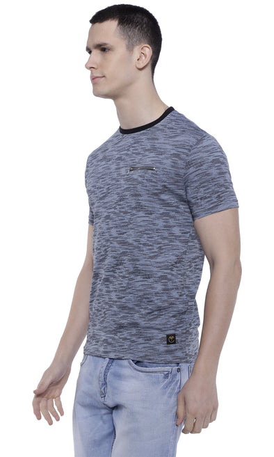 Crew Neck Grey Pattern With Zip | Men's Round Neck | Premium T-Shirt - TeeClap