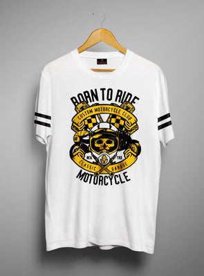 Born To Ride Motorcycle | Men's Cut And Sew | Graphic Printed Premium T-Shirt - TeeClap