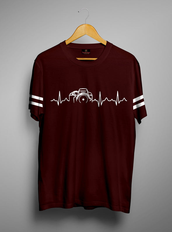 Camera Heartbeats | Men's Cut And Sew | Graphic Printed Premium T-Shirt - TeeClap