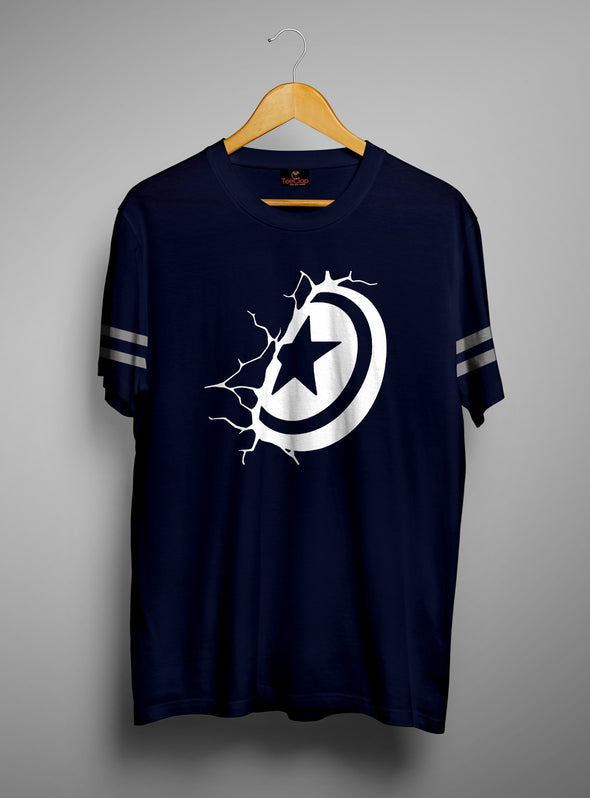 Captain America Cracked Shield | Men's Cut And Sew | Graphic Printed Premium T-Shirt - TeeClap
