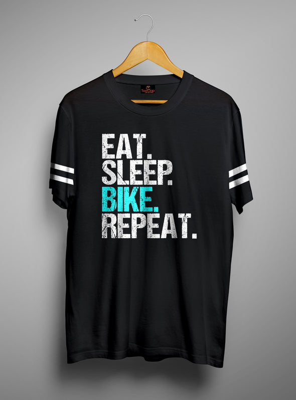 Eat Sleep Bike Repeat | Men's Cut And Sew | Graphic Printed Premium T-Shirt - TeeClap