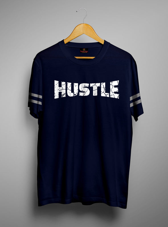 Hustle | Men's Cut And Sew | Graphic Printed Premium T-Shirt - TeeClap