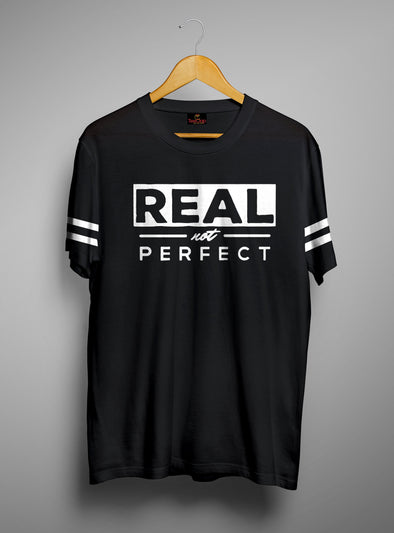 Real Not Perfect | Men's Cut And Sew | Graphic Printed Premium T-Shirt - TeeClap