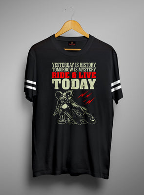 Ride To Live Today | Men's Round Neck | Graphic Printed Premium T-Shirt - TeeClap