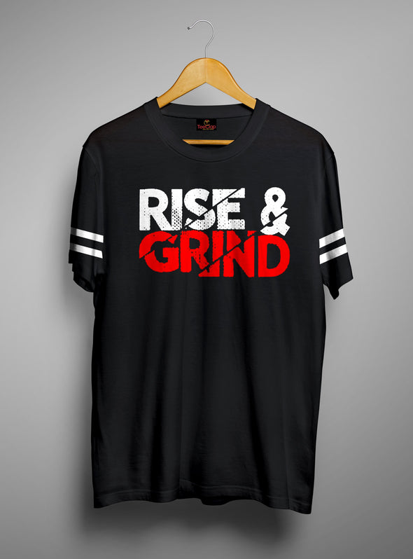 Rise And Grind | Men's Cut And Sew | Graphic Printed Premium T-Shirt - TeeClap