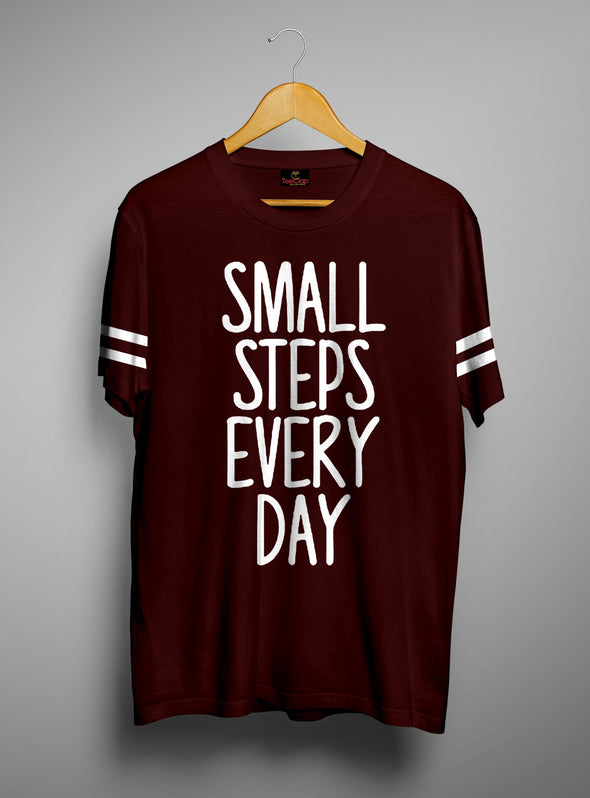 Small Steps Every Day | Men's Cut And Sew | Graphic Printed Premium T-Shirt - TeeClap