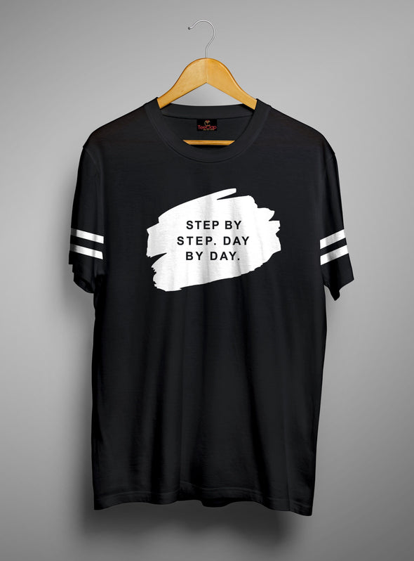 Step By Step Day By Day | Men's Cut And Sew | Graphic Printed Premium T-Shirt - TeeClap