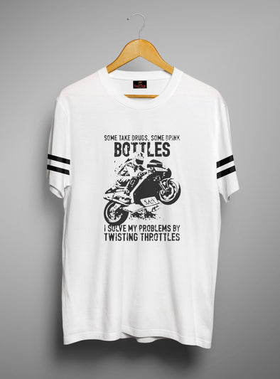 Twisting Throttles | Men's Round Neck | Graphic Printed Premium T-Shirt
