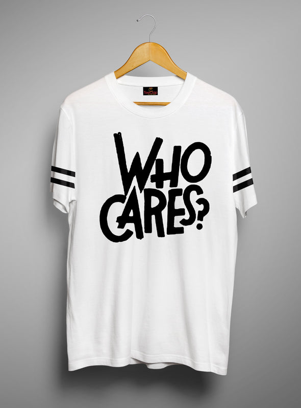 Who Cares | Men's Cut And Sew | Graphic Printed Premium T-Shirt - TeeClap