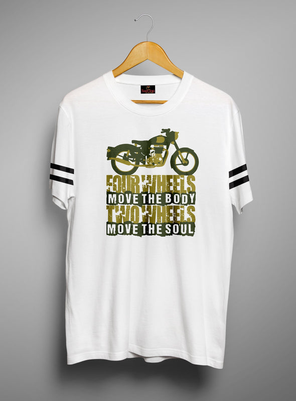 Who Wheels Move The Soul | Men's Round Neck | Graphic Printed Premium T-Shirt - TeeClap