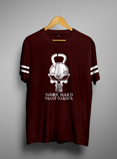 Work Hard Train Harder | Men's Round Neck | Graphic Printed Premium T-Shirt - TeeClap