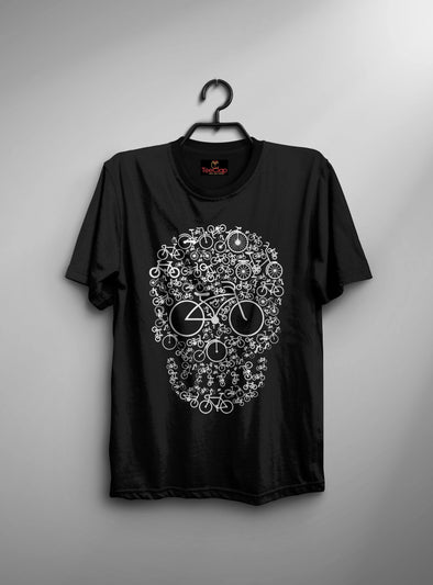 Cycle Skull | Men's Round Neck | Graphic Printed Premium T-Shirt - TeeClap