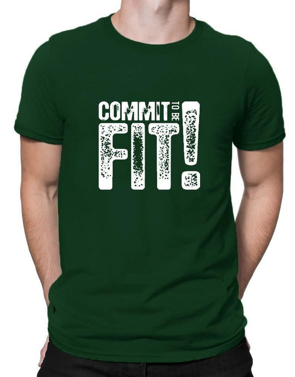 Commit To Be Fit | Men's Round Neck | Graphic Printed Premium T-Shirt - TeeClap