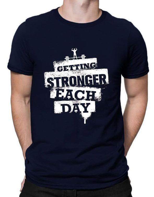 Getting Stronger Each Day | Men's Round Neck | Graphic Printed Premium T-Shirt - TeeClap
