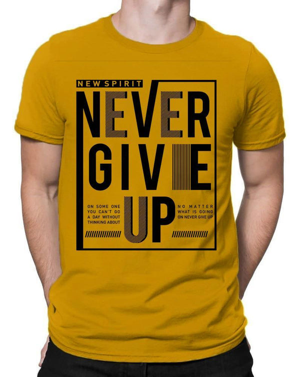 New Spirit Never Give Up | Men's Round Neck | Graphic Printed Premium T-Shirt - TeeClap