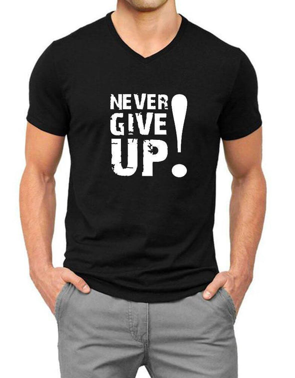 Never Give Up | Men'S V Neck T Shirt - TeeClap