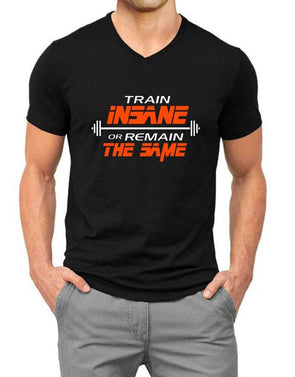 Train Insane Or Remain The Same | Men'S V Neck T Shirt