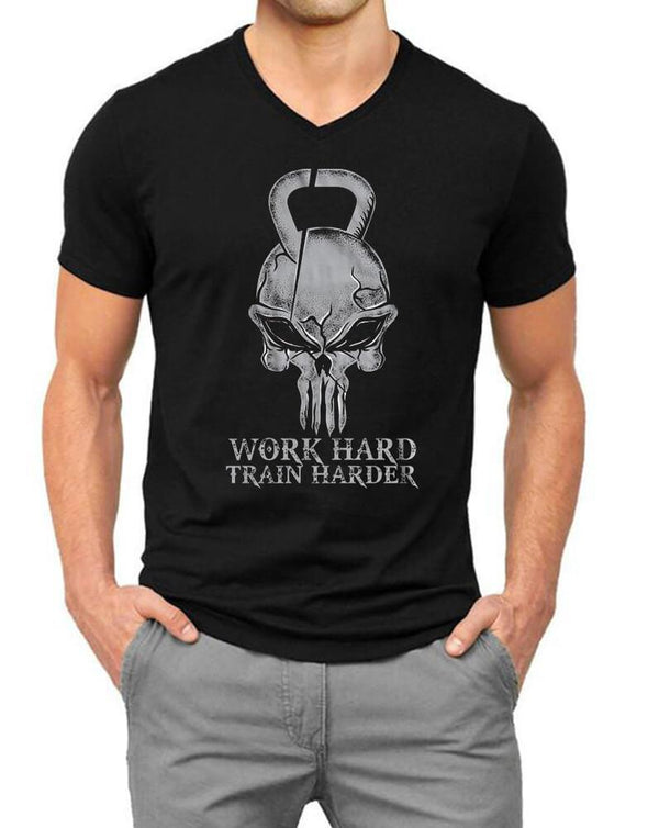 Work Hard Train Harder | Men'S V Neck T Shirt