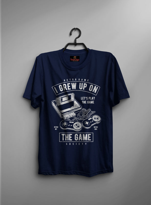 I Grew Up On The Game | Men's Round Neck | Graphic Printed Premium T-Shirt - TeeClap