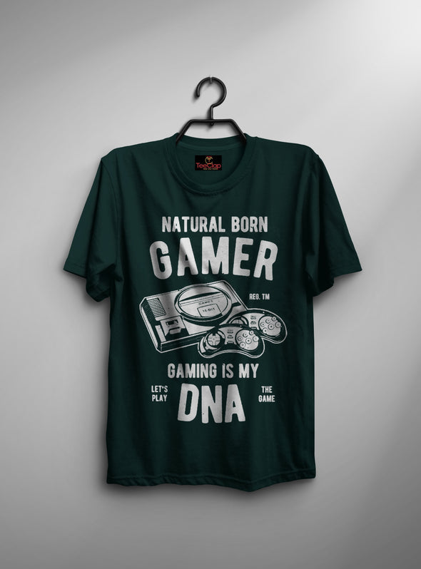 Natural Born Gamer Gaming Is My Dna | Men's Round Neck | Graphic Printed Premium T-Shirt - TeeClap